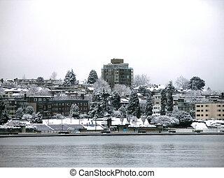 śnieg, w, vancouver