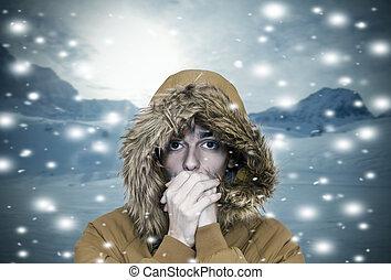 śniegowy człowiek, w, ciepły, zima ubranie