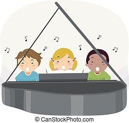 śpiewać, piano, dzieciaki, stickman, ilustracja