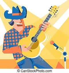 śpiewak, palying, koncert, kowboj, święto, kraj, muzyk, dżinsy, styl, guitar., muzyka, kapelusz, człowiek