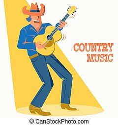 śpiewak, palying, koncert, kowboj, święto, kraj, muzyk, guitar., muzyka, afisz, kapelusz, człowiek