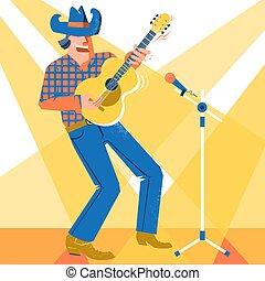 śpiewak, palying, koncert, kowboj, święto, kraj, muzyk, guitar., muzyka, kapelusz, człowiek