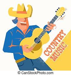 śpiewak, palying, koncert, kowboj, kraj, gitara, muzyka, afisz, kapelusz, człowiek
