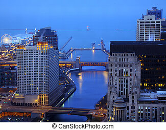 śródmieście, chicago, w nocy