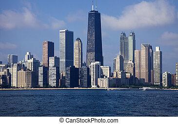 śródmieście, chicago, zobaczony, z, przedimek określony...