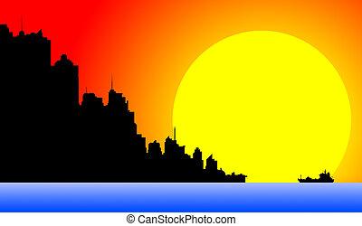 śródmieście, cityscape, zachód słońca