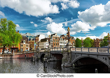 śródmieście, kanał, holland., amsterdam