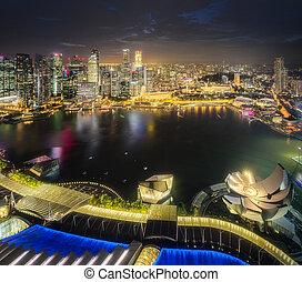 śródmieście, marina, zatoka, okręg, singapore