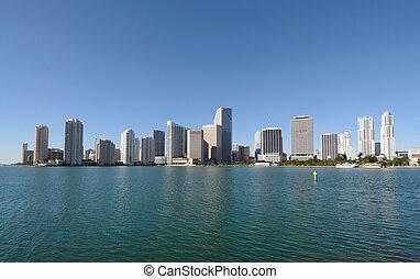 śródmieście, miami skyline, floryda, usa