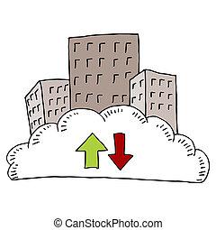 śródmieście, miasto, chmura, sieć
