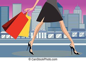 śródmieście, miasto, pieszy, kobieta shopping