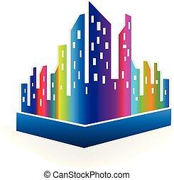 śródmieście, miasto, zabudowanie, wielobarwny, wektor