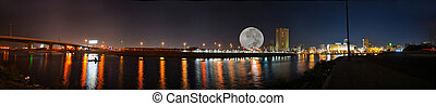 śródmieście, panorama, jeddah, noc