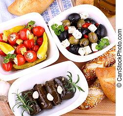 śródziemnomorski, liście, winorośl, faszerowane pieprzyki, ...