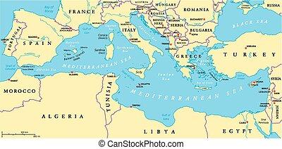 śródziemnomorski, polityczny, okolica, morze