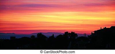 śródziemnomorski, sunset.
