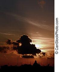 śródziemnomorski, sylwetka na tle nieba, zachód słońca