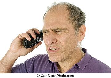średni wiek, przewrócić, telefon, rozmowa, emocjonalny, gniewny, człowiek