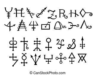 średniowieczny, alchemical, znaki, od, grimoire, magia, książka