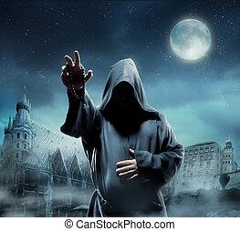 średniowieczny, mnich, w nocy