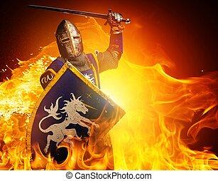 średniowieczny, ogień, rycerz, tło., atak, położenie