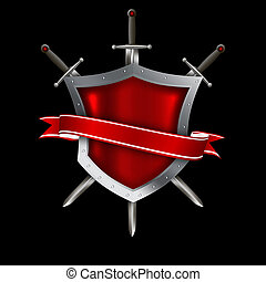 średniowieczny, przynitowany, tarcza, z, czerwona wstążka, i, swords.