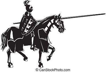 średniowieczny, rycerz, na, grzbiet koński