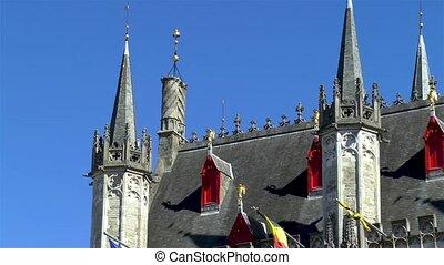 średniowieczny, szczegóły, architektoniczny, bruges.