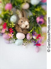 środek, barwny, jaja, wieniec, królik, kwiaty, wielkanoc