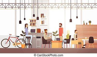 środek, biurowe ludzie, uniwersytet, nowoczesny, twórczy, miejsce pracy, wewnętrzny, co-working, campus