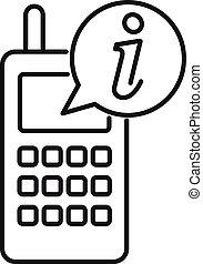 środek, ikona, szkic, telefon, styl, służba