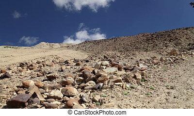 środek, kamień, wschód, pustynia, jordan