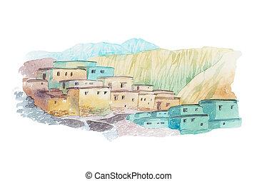 środek, kraj, ilustracja, akwarela, domy, wschód, pustynia