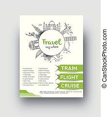 środek, &, lotnik, afisz, podróż, osłona, magazyn, broszura, szablon, design.