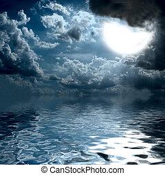 środek, na, słońce, ocean, lekki