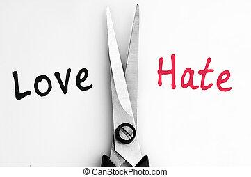środek, nienawiść, miłość, słówko, nożyce