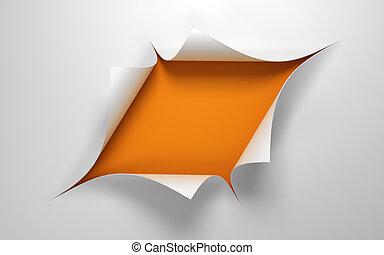 środek, otwór, papier, listek