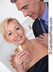 środek, para, sędziwy, posiadanie, szampan.