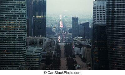 środek, paryż, zachód, historyczny, oś, chwilowy