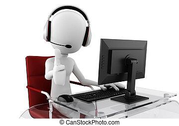 środek, pomoc, rozmowa telefoniczna, gotowy, człowiek, 3d