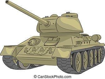 środek, t-34-85., zbiornik, vector.