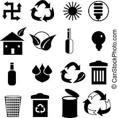 środowisko, ikony, komplet
