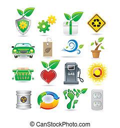 środowisko, komplet, ikony