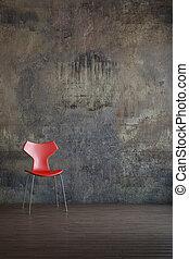 środowisko, krzesło, stary, czerwony