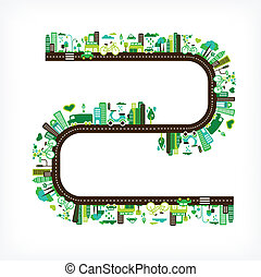 środowisko, miasto, ekologia, -, zielony