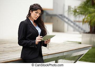 środowisko, miejski, profesjonalny, pracujący, kobieta interesu