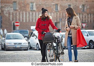 środowisko, miejski, ustalać, zakupy, kobiety
