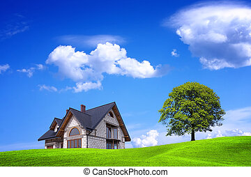 środowisko, nowy, zielony dom