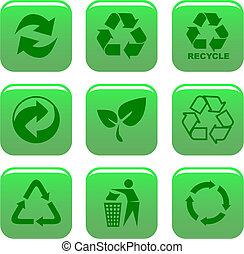 środowisko, przerabianie surowców wtórnych, ikony
