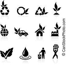 środowisko, zieleńszy, zbiór, ikona